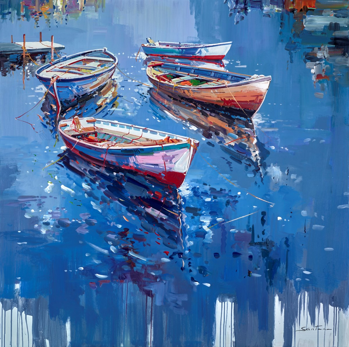 Blue Harbour Reflections IV by santana -  sized 47x47 inches. Available from Whitewall Galleries